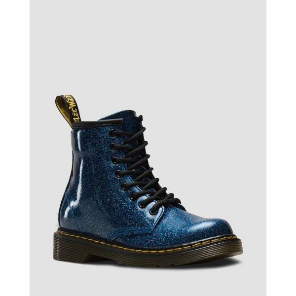 Dr.Martens JUNIOR 1460 GLITTER LACE UP BOOTS - BLUE COATED GLITTER - Sale