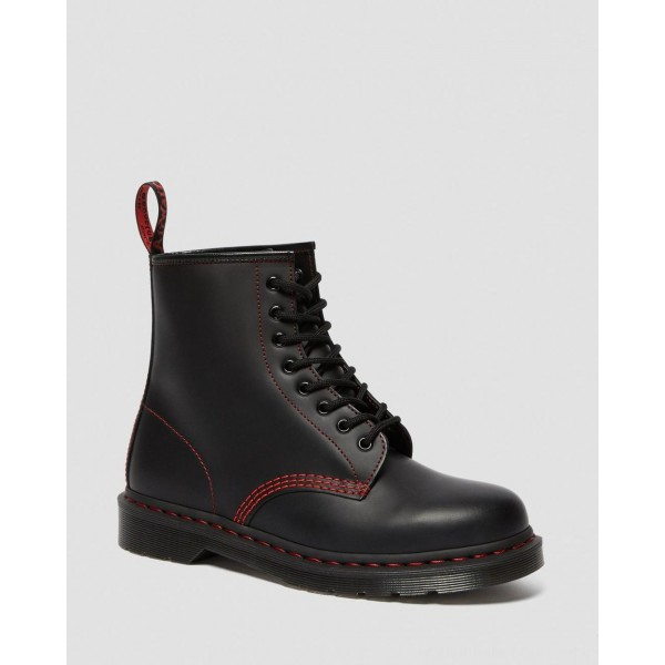 Dr.Martens 1460 CONTRAST STITCH SMOOTH LEATHER BOOTS - BLACK SMOOTH - Sale