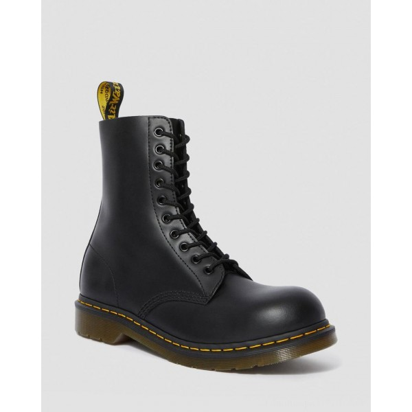 Black Friday Sale Dr. Martens 1919 LEATHER MID CALF BOOTS - BLACK FINE HAIRCELL