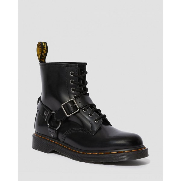 Black Friday Sale Dr. Martens 1460 HARNESS LEATHER LACE UP BOOTS - BLACK POLISHED SMOOTH