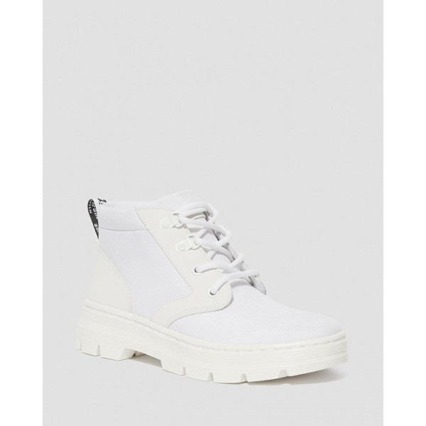 Black Friday Sale Dr. Martens BONNY WOMEN'S POLY CASUAL BOOTS - WHITE EXTRA TOUGH POLY+AJAX