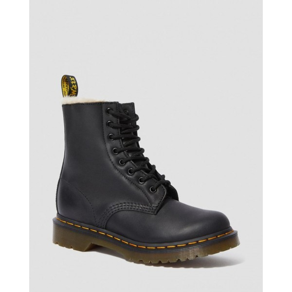 Black Friday Sale Dr. Martens 1460 WOMEN'S FAUX FUR LINED LACE UP BOOTS - BLACK BURNISHED WYOMING